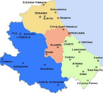 Carta delle Province d'Abruzzo